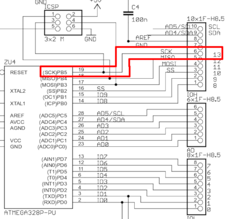 pin13 to pb5 from schematic